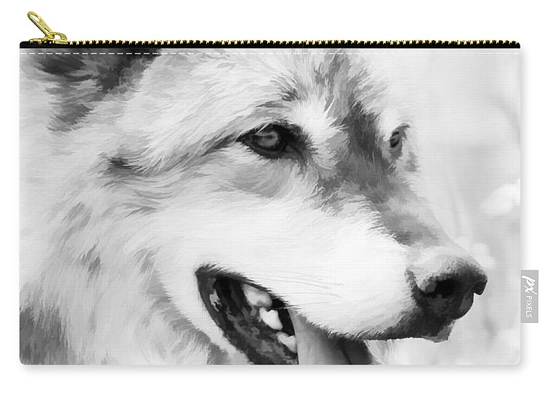 Wolves Carry-all Pouch featuring the photograph Wolf Smiling Black And White by Athena Mckinzie
