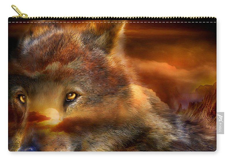 Wolf Carry-all Pouch featuring the mixed media Wolfland by Carol Cavalaris