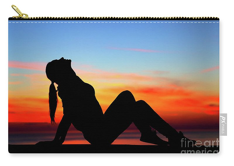 Adult Carry-all Pouch featuring the photograph Woman Enjoying Sunset by Anna Om