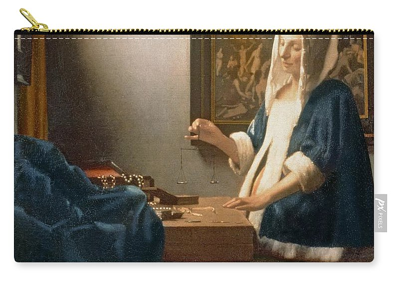 Vermeer Carry-all Pouch featuring the painting Woman Holding A Balance by Jan Vermeer