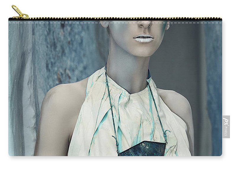 Art Carry-all Pouch featuring the photograph Woman In Ash And Blue Body Paint by Veronica Azaryan