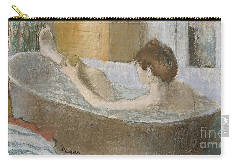 Edgar Carry-all Pouch featuring the pastel Woman in her Bath by Edgar Degas