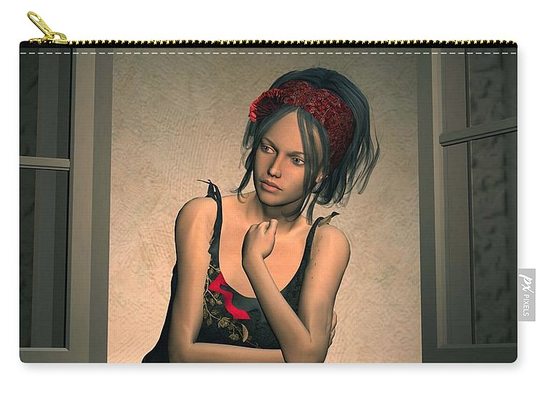 Woman Carry-all Pouch featuring the digital art Woman Looking Out Of A Window by John Junek