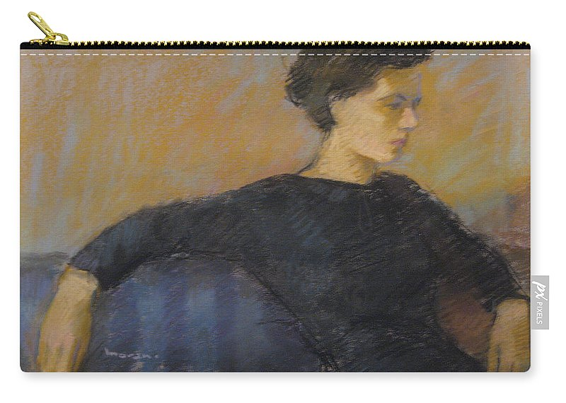Portrait Carry-all Pouch featuring the pastel Woman On Couch by Charles Vernon Moran