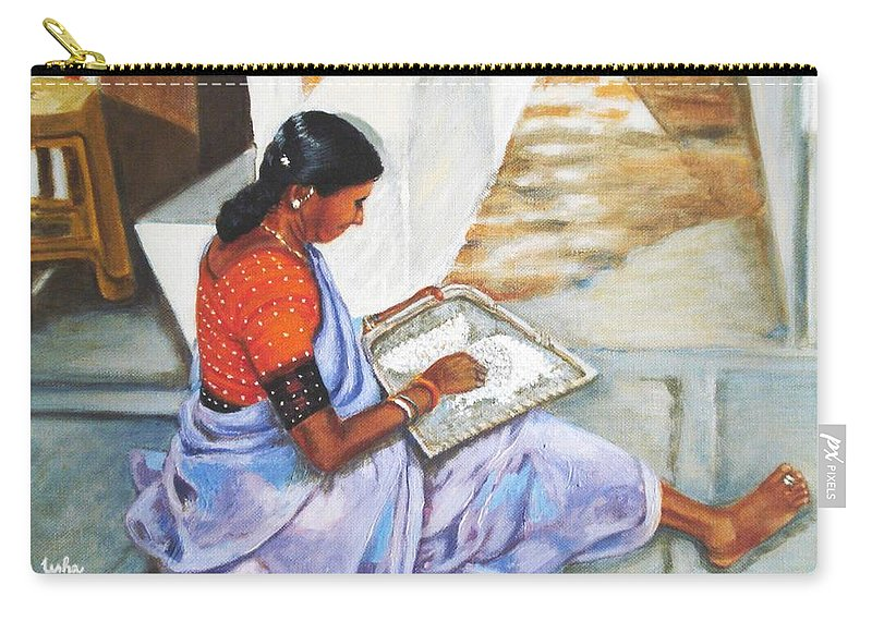 Usha Carry-all Pouch featuring the painting Woman Picking Rice by Usha Shantharam