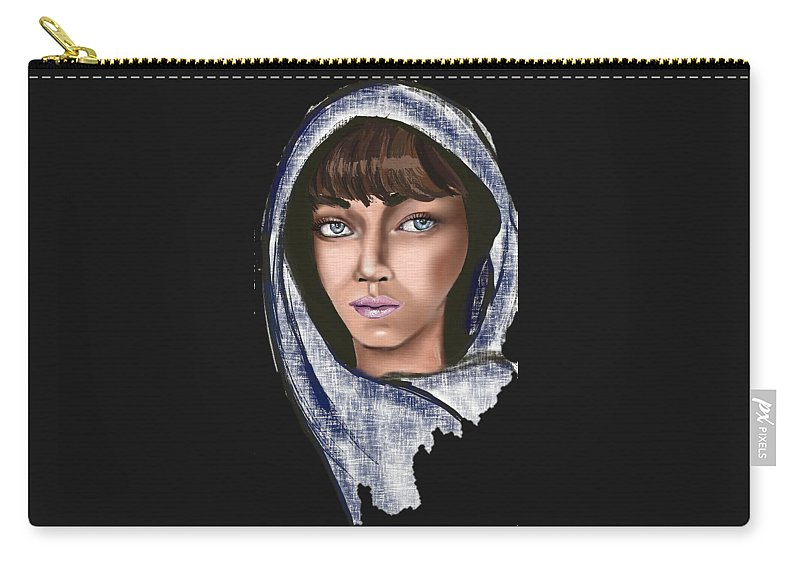 Portrait Carry-all Pouch featuring the drawing Woman Portrait by Eman Elmahdy