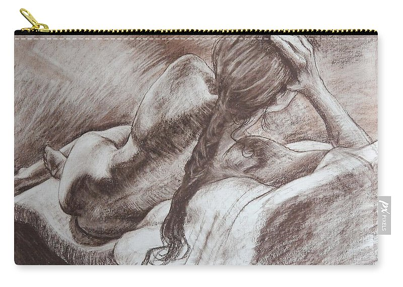 Cont� Crayon Carry-all Pouch featuring the drawing Woman Reclining by Harry Robertson