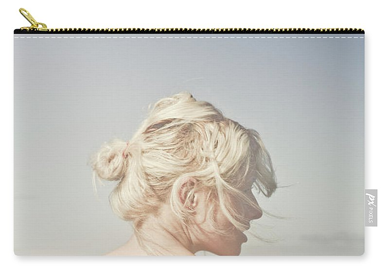 People Carry-all Pouch featuring the photograph Woman Relaxing On The Beach by Jorgo Photography - Wall Art Gallery