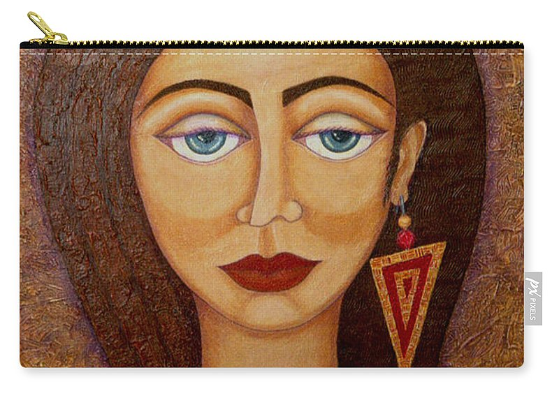 Market Carry-all Pouch featuring the painting Woman S Market by Madalena Lobao-Tello