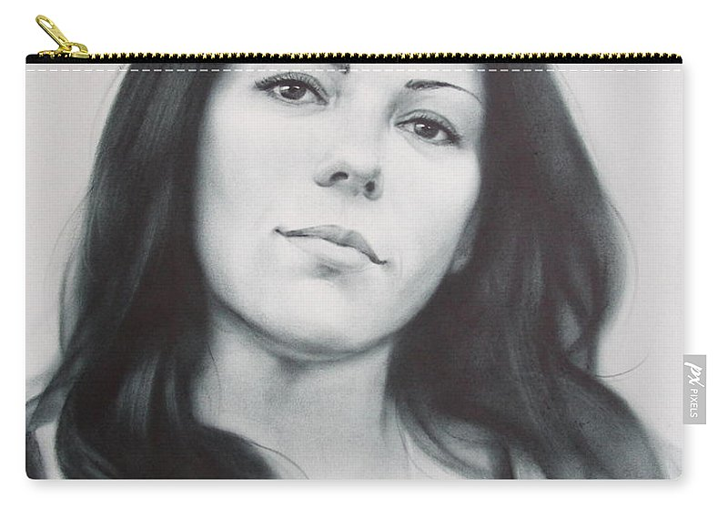 Art Carry-all Pouch featuring the drawing Woman by Sergey Ignatenko