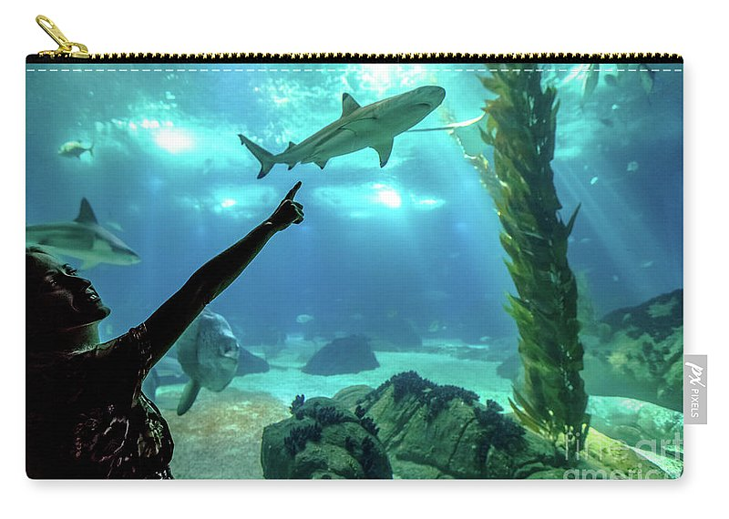 Underwater Carry-all Pouch featuring the photograph Woman Shark Enjoyng by Benny Marty