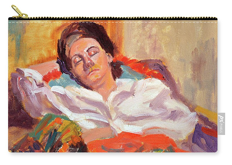 Portrait Carry-all Pouch featuring the painting Woman Sleeping by Keith Burgess