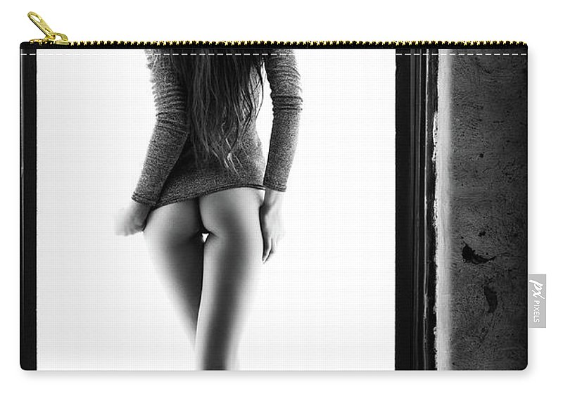 Woman Carry-all Pouch featuring the photograph Woman Standing In Doorway by Johan Swanepoel