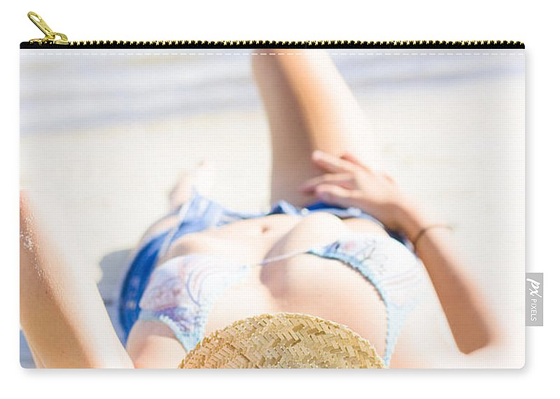Adults Only Carry-all Pouch featuring the photograph Woman Sunbathing by Jorgo Photography - Wall Art Gallery