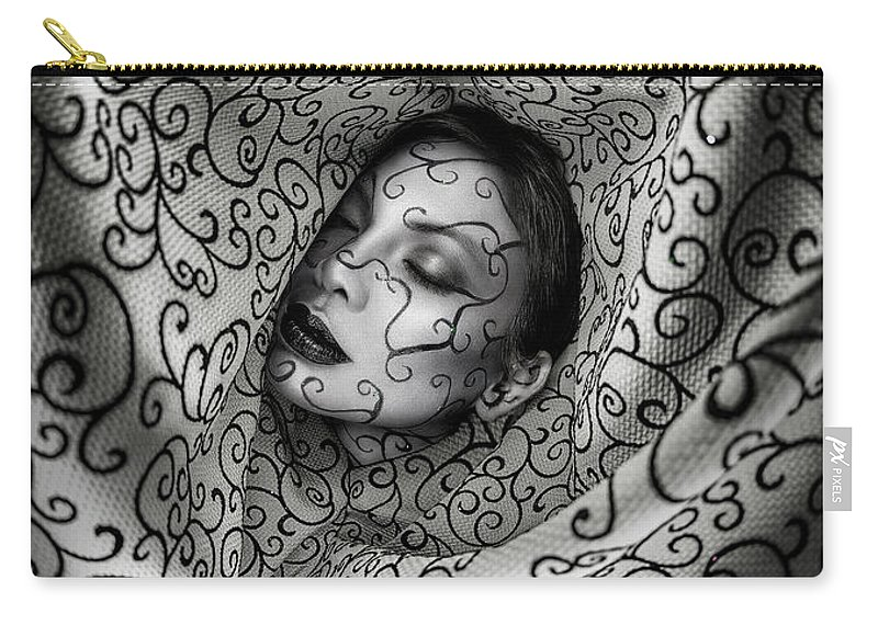 Paisley Prints Carry-all Pouch featuring the photograph Woman Surrounded By Cloth Of Paisley Prints by Erich Caparas