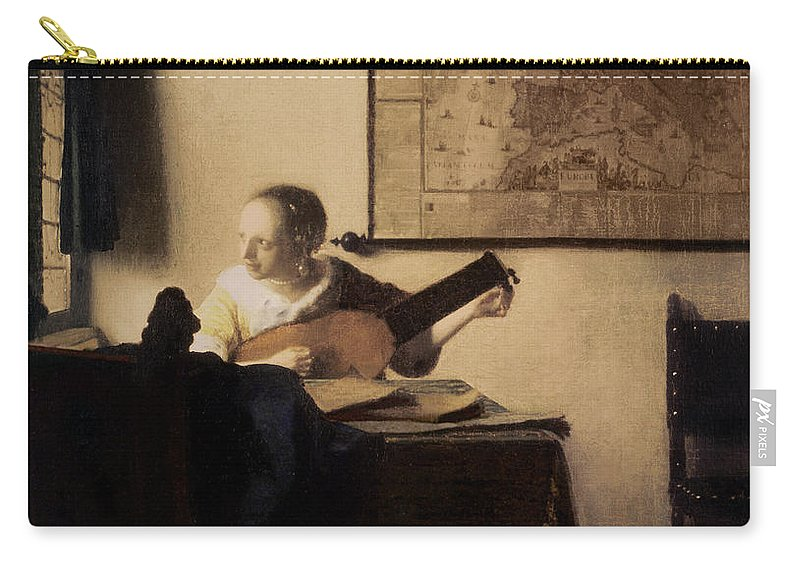 Woman With A Lute Carry-all Pouch featuring the painting Woman With A Lute by Jan Vermeer
