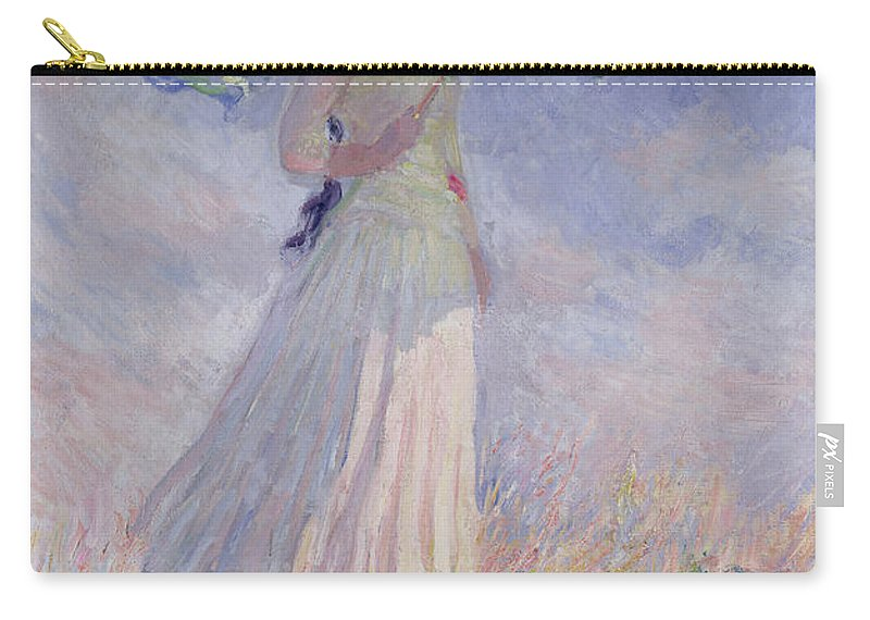 Woman Carry-all Pouch featuring the painting Woman with a Parasol turned to the Right by Claude Monet
