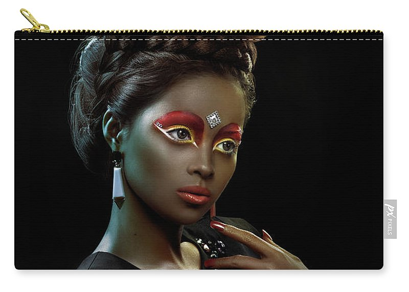 Black And White Carry-all Pouch featuring the photograph Woman With Beehive Hairstyle And Jewelry Headdress by Erich Caparas