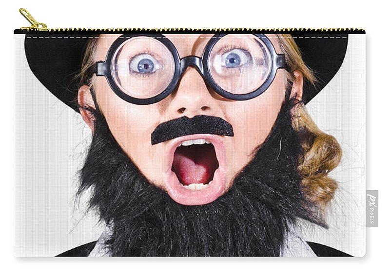 Humor Carry-all Pouch featuring the photograph Woman With Fake Beard And Mustache Screaming by Jorgo Photography - Wall Art Gallery