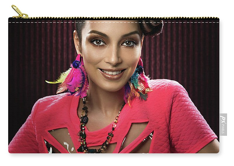 Pink Dress Carry-all Pouch featuring the photograph Woman With Floral Headdress In Pink Dress by Erich Caparas