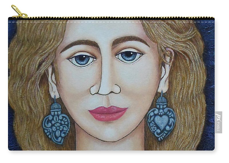 Woman Carry-all Pouch featuring the painting Woman With Silver Earrings by Madalena Lobao-Tello