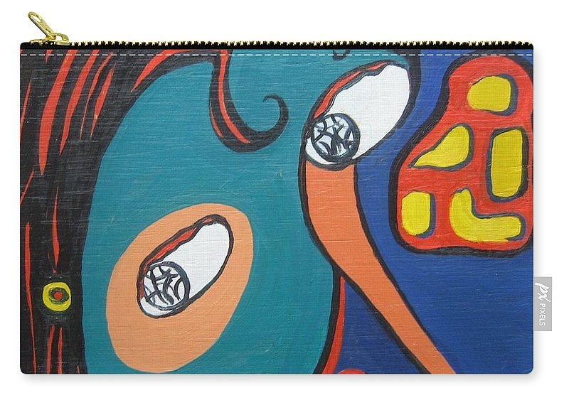 Abstract Paintings Carry-all Pouch featuring the painting Woman12 by Seon-Jeong Kim