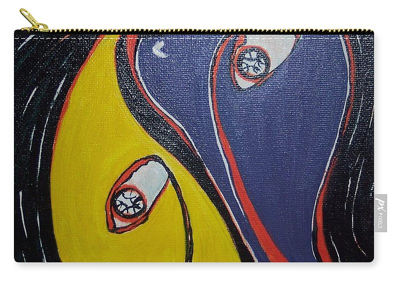 Yellow Paintings Carry-all Pouch featuring the painting Woman21 by Seon-Jeong Kim