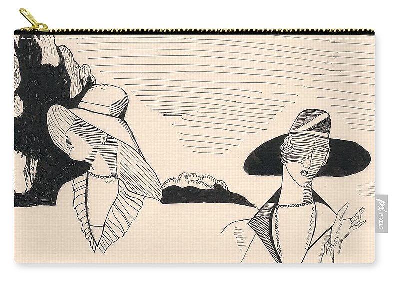 Women Hats Ink Deco Carry-all Pouch featuring the drawing Women by David Schiffer