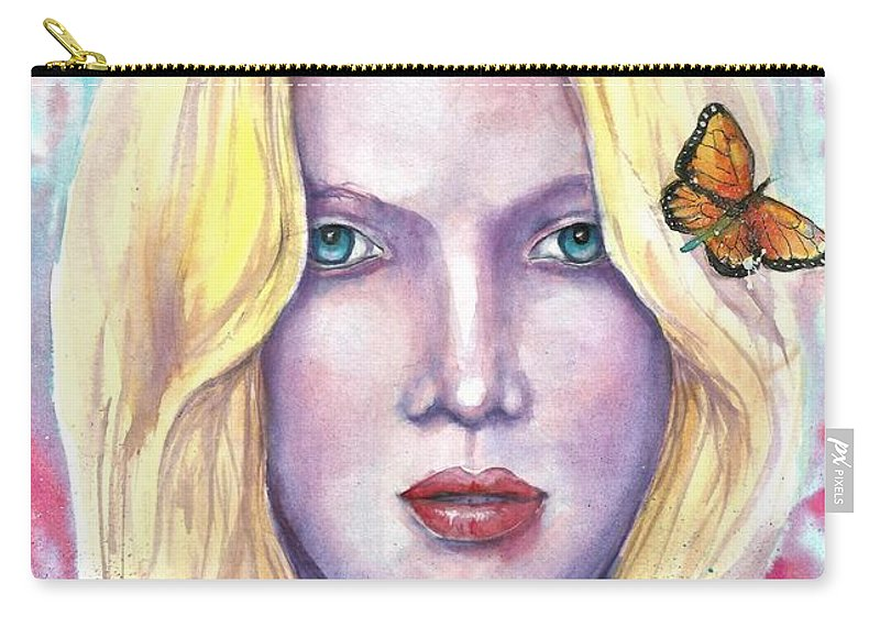 Original Painting Carry-all Pouch featuring the painting Women Face beauty by Natalja Picugina