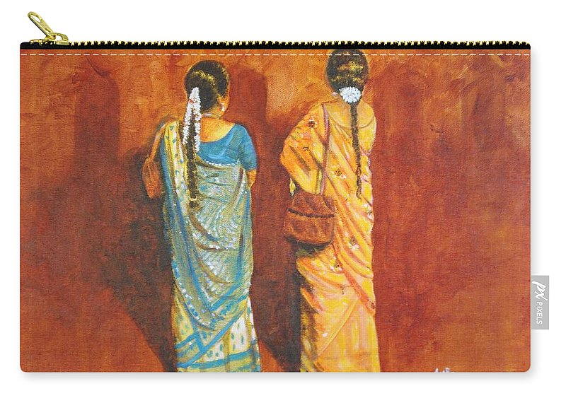 Women Carry-all Pouch featuring the painting Women In Sarees by Usha Shantharam