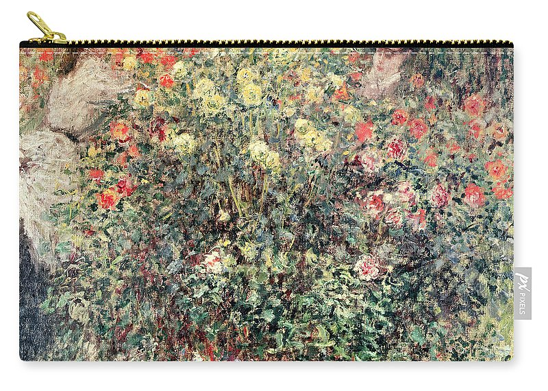 Women In The Flowers Carry-all Pouch featuring the painting Women In The Flowers by Claude Monet