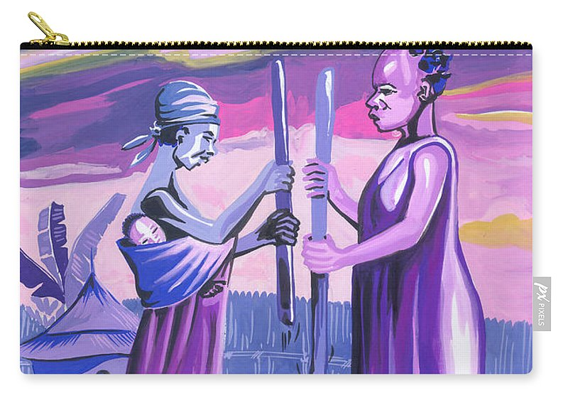 African Art Carry-all Pouch featuring the painting Women Pounding Cassava by Emmanuel Baliyanga