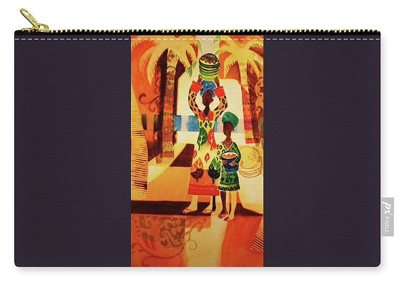 Women Carry-all Pouch featuring the painting Women With Baskets by Marilyn Jacobson