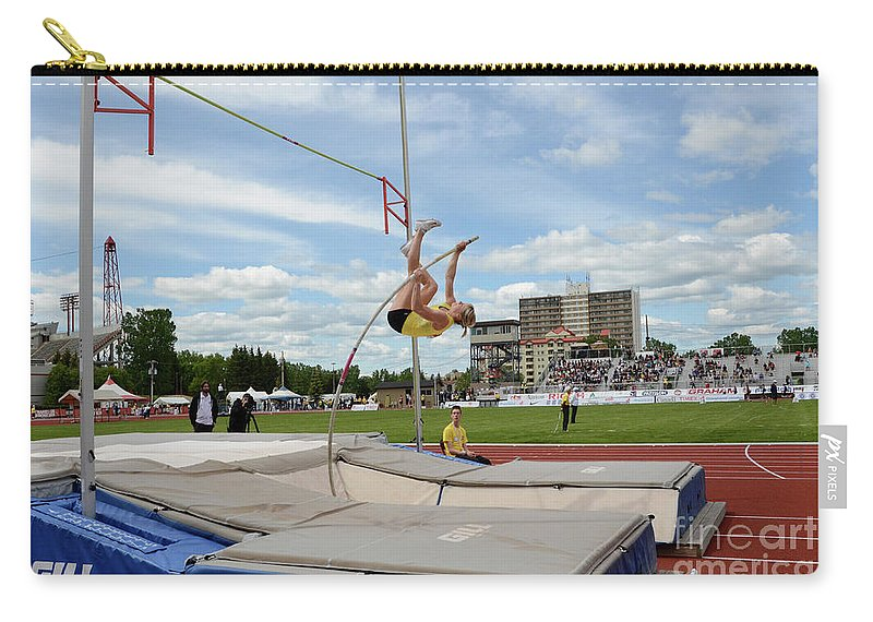 Canadian Track And Field National Championships 2011 Carry-all Pouch featuring the photograph Womens Pole Vault 2 by Bob Christopher