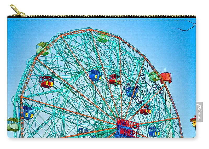 Wonder Wheel Amusement Park Carry-all Pouch featuring the painting Wonder Wheel Amusement Park 1 by Jeelan Clark