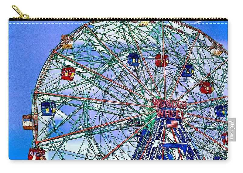 Wonder Wheel Amusement Park Carry-all Pouch featuring the painting Wonder Wheel Amusement Park 3 by Jeelan Clark