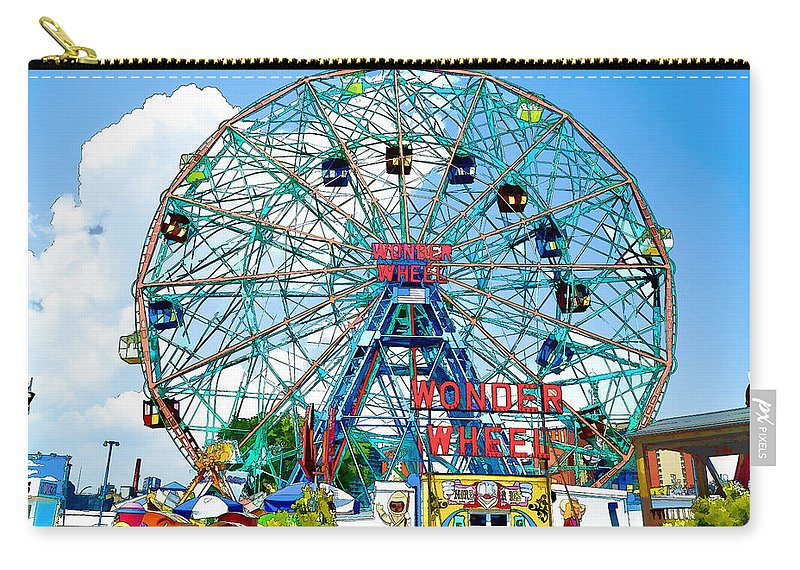 Wonder Wheel Amusement Park Carry-all Pouch featuring the painting Wonder Wheel Amusement Park 6 by Jeelan Clark