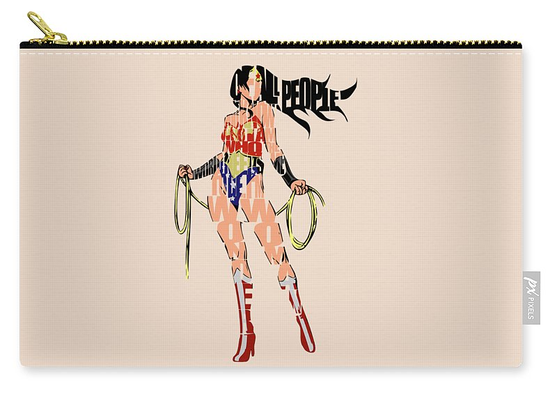 Wonder Woman Carry-all Pouch featuring the digital art Wonder Woman by Inspirowl Design