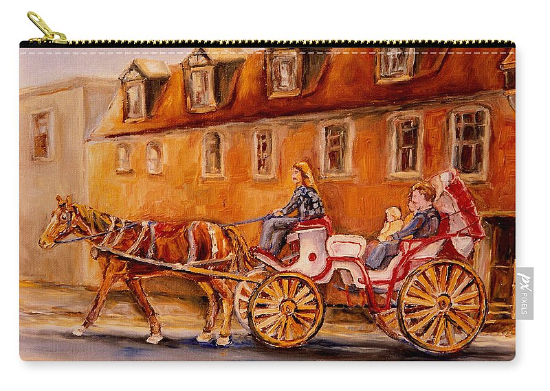Quebec City Carry-all Pouch featuring the painting Wonderful Carriage Ride by Carole Spandau