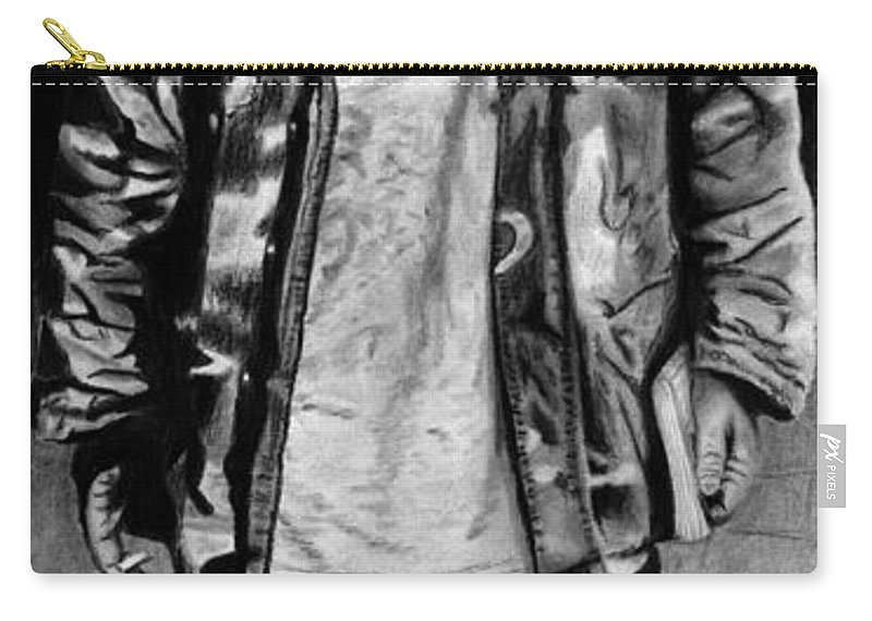 Wondering Soldier Carry-all Pouch featuring the drawing Wondering Soldier by Peter Piatt
