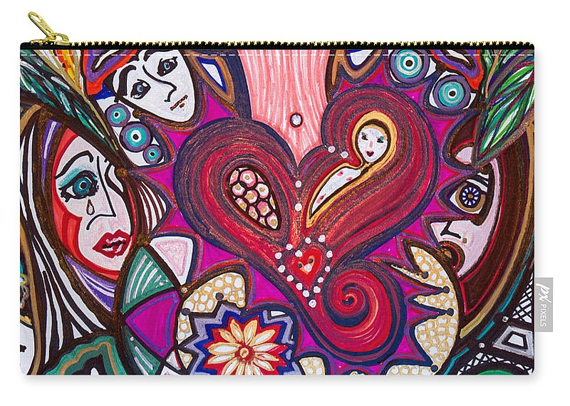 Heart Carry-all Pouch featuring the painting Wondering What's Next - IIi by Laurel Rosenberg
