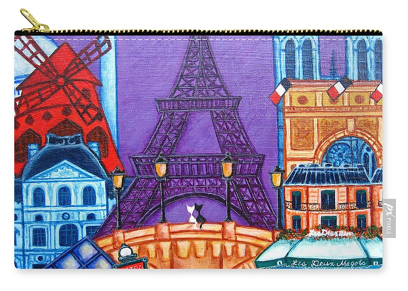 Paris Carry-all Pouch featuring the painting Wonders Of Paris by Lisa Lorenz