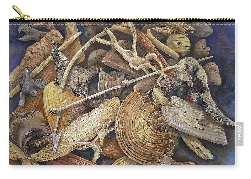 Driftwood Carry-all Pouch featuring the painting Wood Creatures by Valerie Meotti
