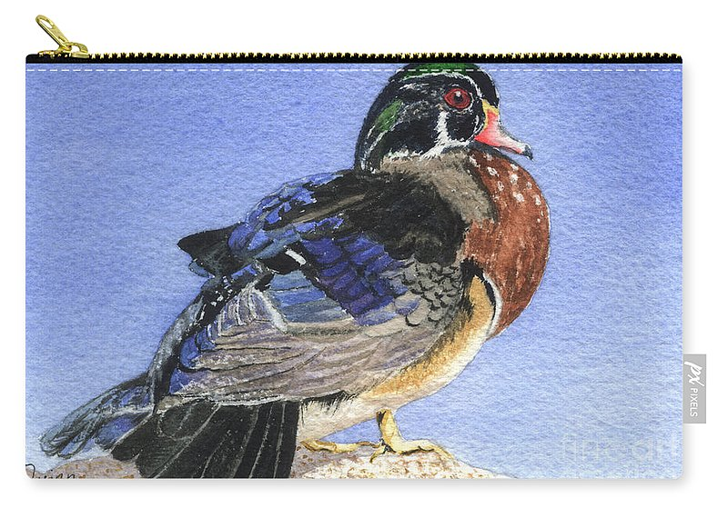 Duck Carry-all Pouch featuring the painting Wood Duck by Lynn Quinn