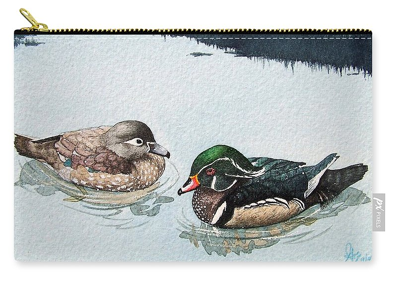 Ducks Carry-all Pouch featuring the painting Wood Ducks by Gale Cochran-Smith
