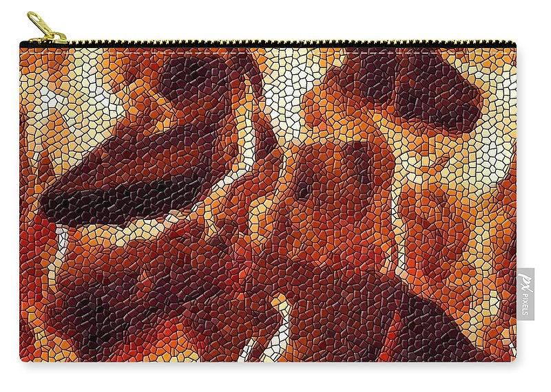 Wood Carry-all Pouch featuring the digital art Wood Fire Mosaic by Tim Allen