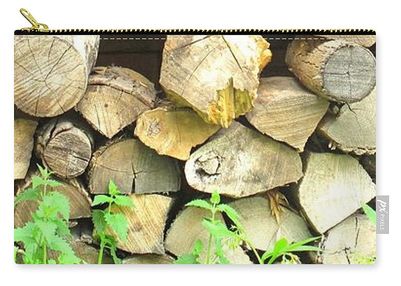 Wood Carry-all Pouch featuring the photograph Wood Pile by Ian MacDonald