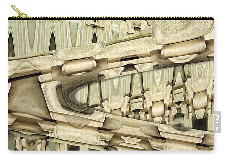 Abstract Carry-all Pouch featuring the digital art Wood Sine by Ron Bissett
