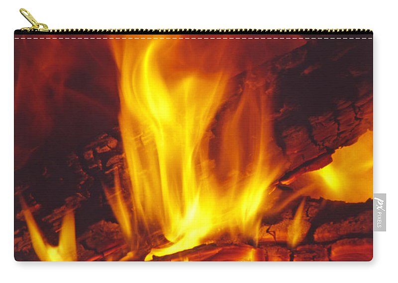 Fire Carry-all Pouch featuring the photograph Wood Stove - Blazing Log Fire by Steve Ohlsen