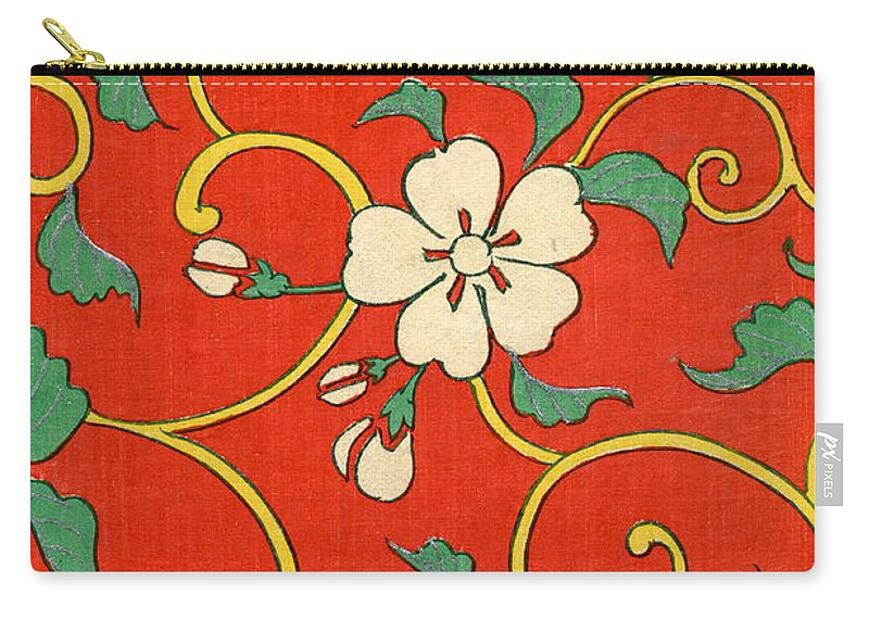 Floral Carry-all Pouch featuring the painting Woodblock Print Of Apple Blossoms by Japanese School
